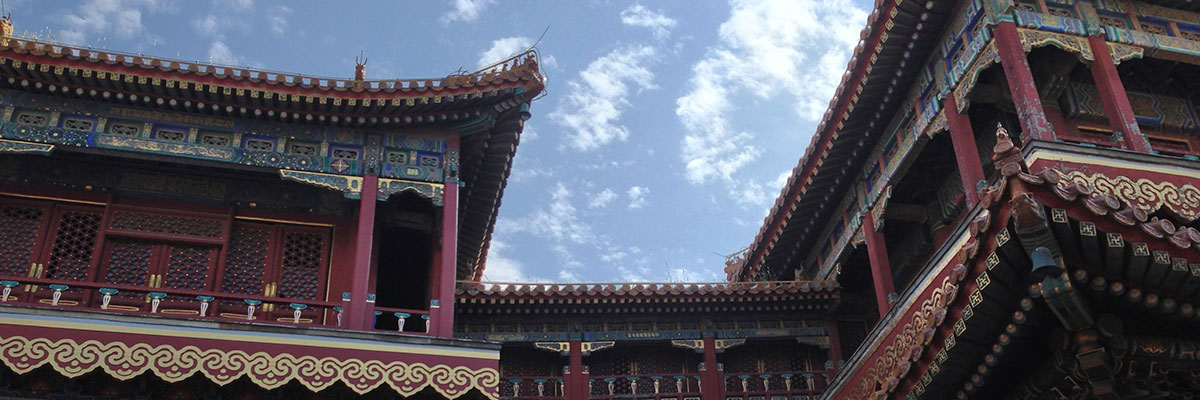 Tibetan architecture in the Lama Temple in Beijing
